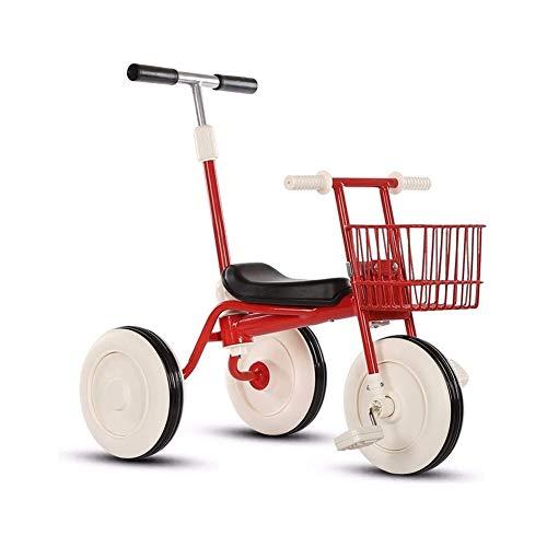 TQJ Cochecito de Bebe Ligero Triciclo Niños con Desmontable Manija De Empuje De 3 Ruedas Niños Pequeños A Niños Paseo En El Pedal De La Bici De Trike 15 Meses A 5 Años (Rojo)