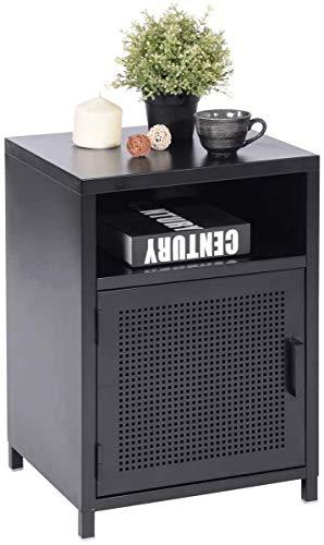 MEUBLE COSY rangement bureau Nachttisch Wohnzimmerschränke Beistelltische Nachtkonsole mit Ablagen und Tür, Metall, Schwarz, 39 x 35 x 56cm