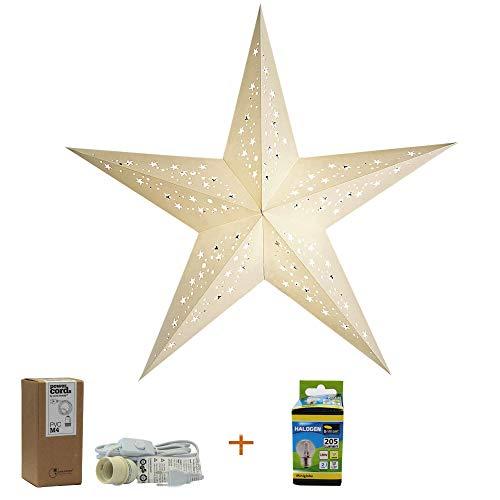 Papierstern Mia mit Zubehör, Kabel Weiss, Weihnachtsstern Deko Lampe, Fensterdeko Wohndeko, Faltstern Geschenkidee (mia White)