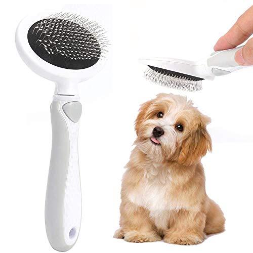 LLMZ Cepillo Perro Gato 1 Pcs Peine de Limpieza de Mascotas Autolimpiante Cepillos de Aseo Pets Cepillo Perros y Gatos Cepillo de Pelo para Gatos Perros Cachorros