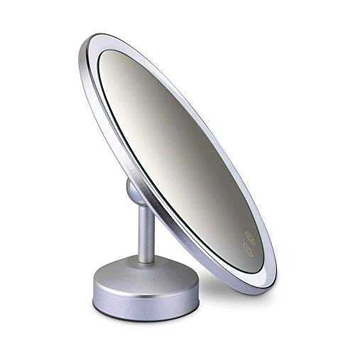 Z-LIANG Mirror Espejo de baño portátil, Recargable USB Espejo de baño con 1X / 3X magnificación de Pantalla táctil Regulable luz LED for Maquillaje cosmético encimera Maquillaje