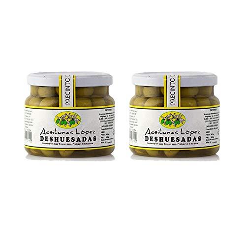 Aceitunas Deshuesadas Sabor Anchoa - Bote de 550 g - Aceitunas Lopez (Pack de 2 botes)