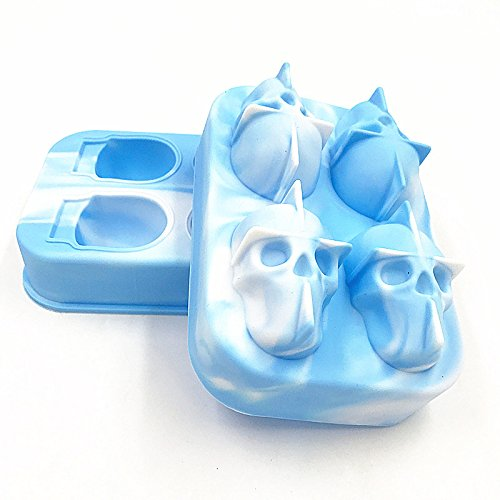 Eiswürfelform 3D Skull Flexible Silikon Eisherstellung Mold 4 Schädel Großer Eismaschine Multifunktional (Color : White Light Blue)