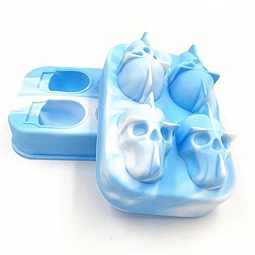 Küchen-eiswürfelform 3D Skull Flexible Silikon Eisherstellung Mold 4 Schädel Großer Eismaschine Kann Wiederverwendet Werden (Color : White Light Blue)