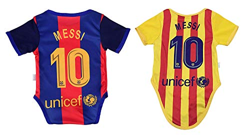 Athletics Rhinox Lionel Messi #10 Soccer Jersey Baby Infant & Toddler Onesies Rompers Pack of 2 Home & Away Jersey Design Bundle (0-3, Home)