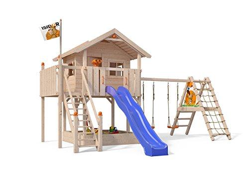 ISIDOR XL-Baumhaus COLINO Spielturm mit erweitertem Schaukelanbau und Sicherhheitstreppe, XXL- Rutsche, Sandkasten und Balkon auf 1,50 Meter Podesthöhe