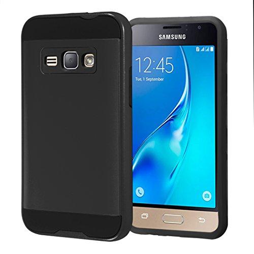 Galaxy Express 3 Case, Galaxy Amp 2 Case, Galaxy Luna Case, Galaxy J1 J120 Case, Capsule-Case Hybrid Fusion Dual Layer Slick Armor Case (Black) for Samsung SM-J120 S120
