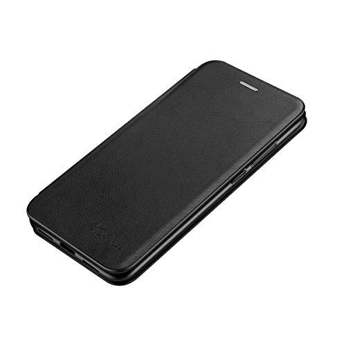 Suhctup Tasche Kompatibel für Samsung Galaxy S7 Hülle Außenseite aus Echt Leder Innenseite aus Textil Magnet Schutz Case Ständer mit Ultra Slim Cover Bookstyle Klappbar