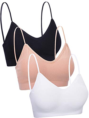 3 Pieces V Neck Women Bra Seamless Padded Camisole Bandeau Tube Bra with Elastic Straps (Black, White, Skin Color, Small - Medium)