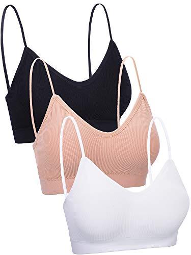 Boao 3 Pieces V Neck Tube Top Bra Seamless Padded Camisole Bandeau Sports Bra Sleep Bra with Elastic Straps (Black, White, Skin Color, XL - XXL)