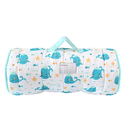 Biloban Toddler Nap Mat with Pillow and Blanket,'50 x 21 x 1.5' Super Soft and Cozy, The Great Kids Nap Mat for Preschool, Roll up Bed for Boys and Girls. Whale