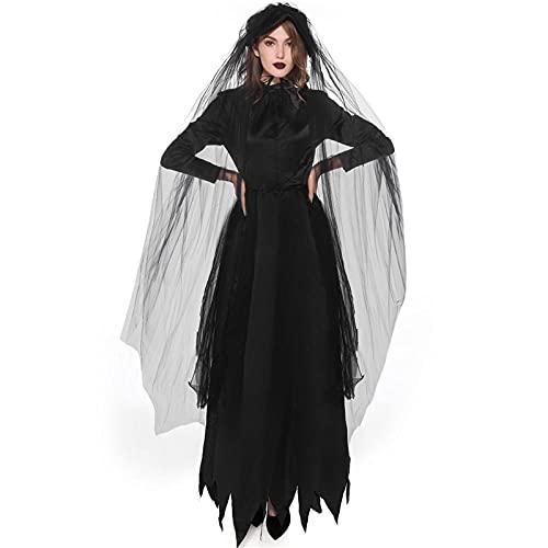 Disfraz Womenhalloween Mujeres Muerte Infierno Bruja Diablo Vampiro Uniforme Negro Vestido Largo Fiesta Cosplay Día de los Muertos Ópera Disfraces Negro-1_M
