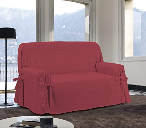 Homelife Sofabezug Rot & Couch Überzug | weicher Sessel & Sofa Überzug & Sofaüberwurf Decke Borbone Muster | Sofa Überwurf aus angenehmer Baumwolle | schöne Sofa Cover Abdeckung