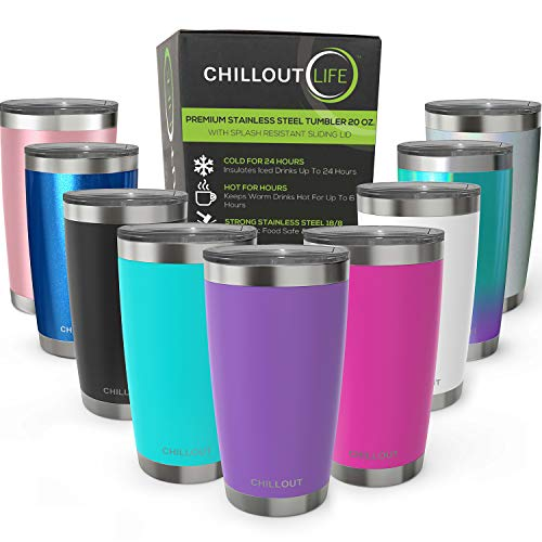 CHILLOUT LIFE 20 oz Stainless Steel Tumbler with Lid & Gift Box   Double Wall Vacuum Insulated Travel Coffee Mug with Splash Proof Slid Lid   Insulated Cup for Hot & Cold Drinks, Powder Coated Tumbler