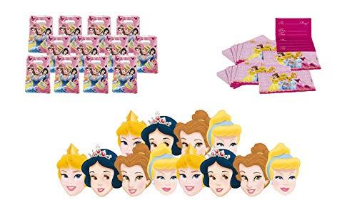 2437; Disney Prinsessen feest en verjaardagspakket; samengesteld uit 12 uitnodigingen, 12 maskers en 12 zakken