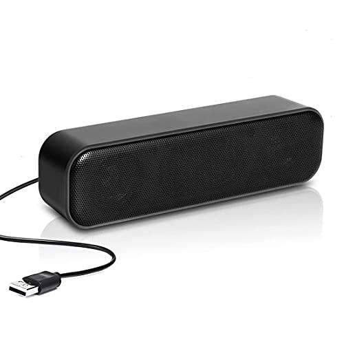 USB Lautsprecher PC Soundbar, Mini USB Computer Lautsprecher Tragbar mit 3D...