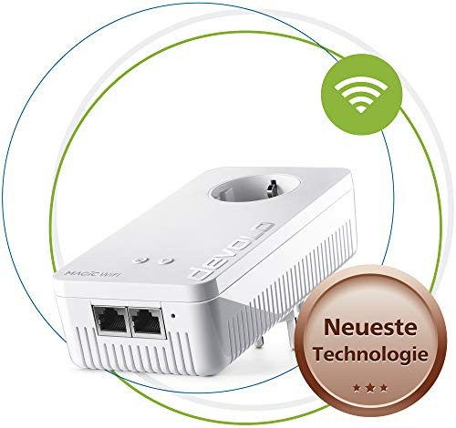 Devolo Magic 1 Wifi: Sterke Powerline Adapter Met Wlan-Functie, Tot 1200 Mbit/S Wifi Ac, 2X Fast Ethernet Lan-Aansluiting, Geïntegreerde Stopcontact, Mesh Wifi, Access Point, Wit