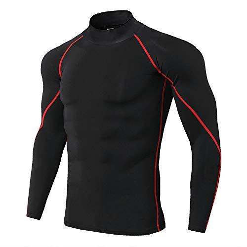 qulvyushangmaobu Camiseta Hombre Deportiva Compresión Camiseta Interior Hombre Manga Larga Fitness Gimnasio Aire Libre para Entrenamiento Ciclismo Ropa Deportiva de Manga Larga
