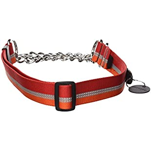 Ruffwear Cinch Collar for Dogs, Large to Very Large Breeds Adjustable Fit, Reflective Trim, Size Large (51-66 cm/20-26 in), Kokanee Red, Chain Reaction Collar, 25701-604L:Comoparardefumar