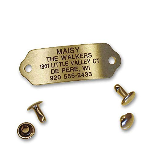 LuckyPet Rivet-On Pet ID Tag, Silent, Personalized and Customized Dog ID Tag That Rivets Directly onto Collar, Polished Brass, Size: Medium
