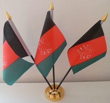 Afghanistan 3 drapeau Afghan affichage de bureau avec Base dorée