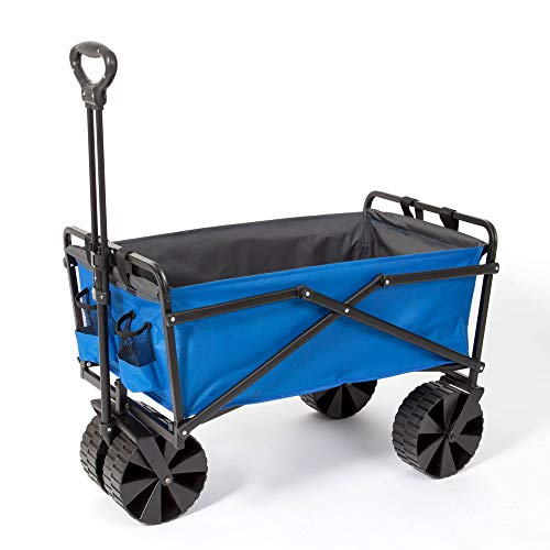 Seina Manual 150 Pound Steel Frame Folding Garden Cart Beach Wagon, Blue/Gray thumbnail image