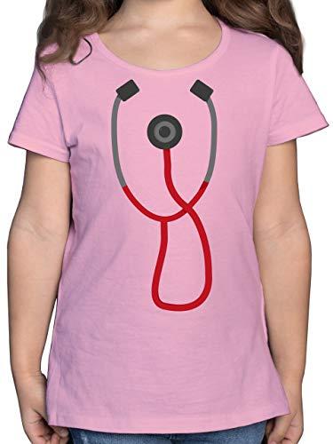 Karneval & Fasching Kinder - Arzt Stethoskop Kostüm - 128 (7/8 Jahre) - Rosa - Rettungsdienst - F131K - Mädchen Kinder T-Shirt