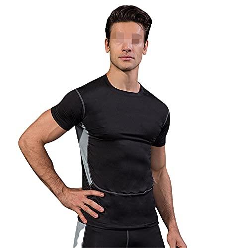 Camisa Deportiva Hombres Ejercicio Físico Correr Deportes Al Aire Libre Hombres Cuello Redondo Manga Corta Vacaciones Verano Tiempo Libre Cómodo Estiramiento Camiseta Hombres A-Black M