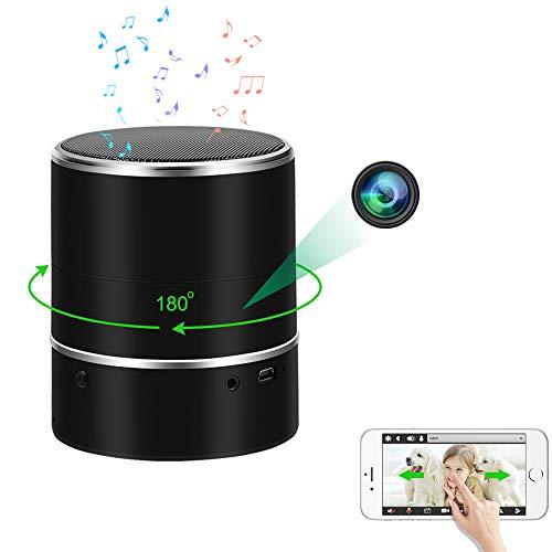 LXMIMI Cámara oculta espía, reproductor de música Bluetooth, cámara espía, 1080P HD, cámara oculta WiFi con rotación de 180° y detección de movimiento