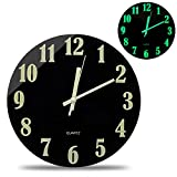 Black Modern Night Light Function Luminous Wall Clock 12inch Silent Non Ticking Battery Operated Movement Tempered Glass clock Large Digital Decoration Clock for Bedroom/Living Room/Office Decoration