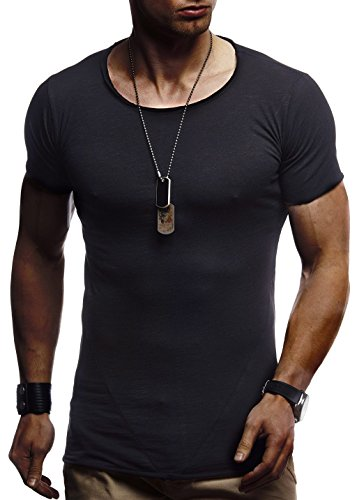 Leif Nelson heren zomer T-shirt ronde hals slim fit katoenaandeel modern mannen T-shirt Crew Neck Hoodie-Sweatshirt korte mouwen LN6281