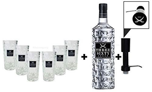 Three Sixty Set Geschenkset ? Three Sixty Wodka Vodka 3L 3000ml (37,5% Vol) + Pumpe + 6x Shotgläser Glas 2 und 4cl geeicht- [Enthält Sulfite]