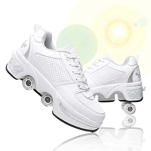 女の子/女性のためのカジュアルローラースケート、変形パルクールシューズ目に見えない4ラウンドのランニングシューズローラースケート、アウトドアスポーツキックローラーシューズ (White Silver, 27.5-28cm/42)