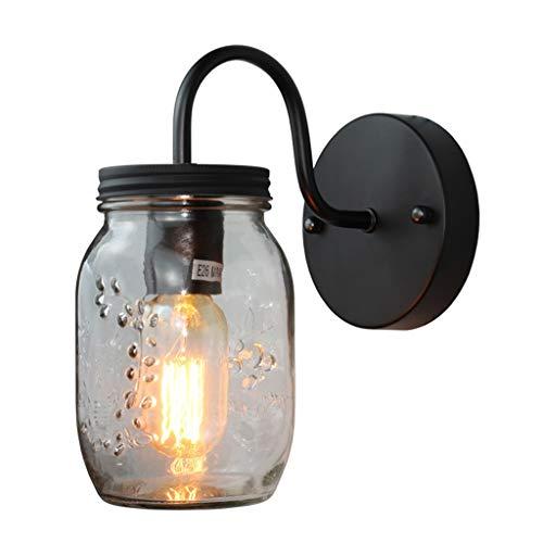 A-ZHP W. Lámpara de Pared, Creativo Individual Industrial de la Cabeza del Viento de la Pared de Cristal de la lámpara E27 Fuente de luz Lámpara de Pared [Clase de energía A ++]