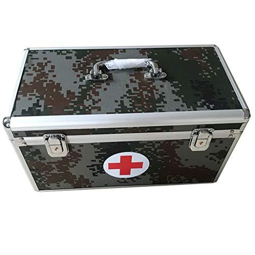Utomhus medicin förvaringslåda med lås, första hjälpen låda av metall med axelrem, avtagbar övre fack nyckelbox verktygslåda för hemmet, resor, camping – 36 x 19 x 20 cm