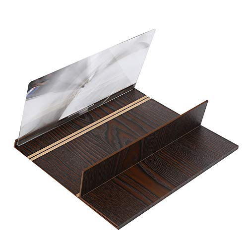 SONPP 3D HD Screen Amplifier 12 Inch Wood Grain Phone Screen Stand Holder Amplifier for Mobile Phone Magnifying