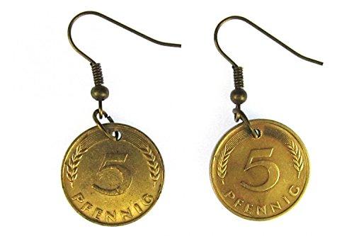 5 Pfennig Münze Ohrringe Miniblings BRD Mark Geld D-Mark Glückspfennig Glück