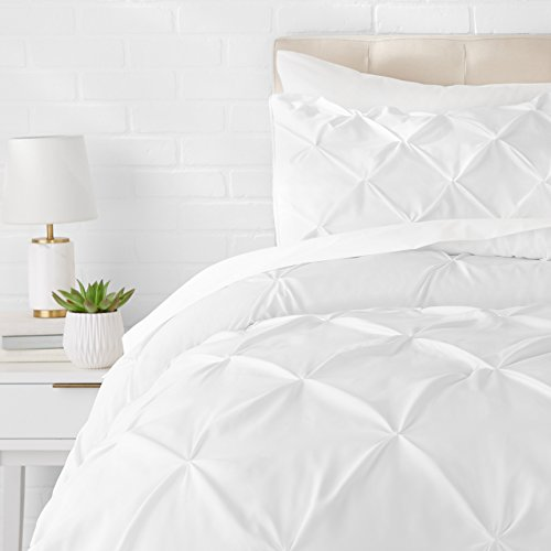 AmazonBasics Pinch Pleat Comforter Bedding Set, Twin, Bright White