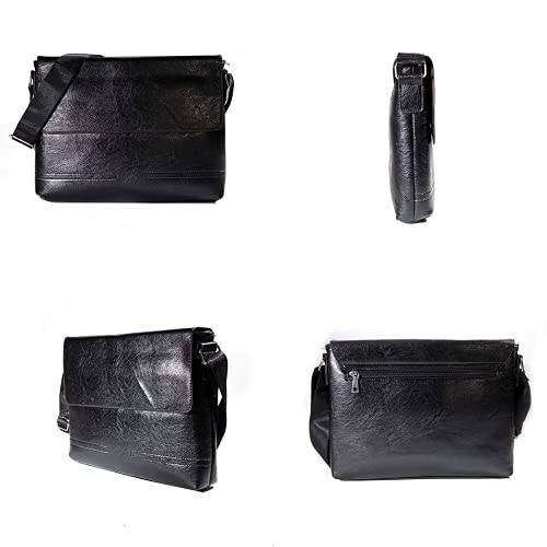 N,A Bolso de hombre de color negro con 4 compartimentos. Bolsa Mensajero con Correa ajustable con dos broches de metal. Bandolera de cuero vegano. Diseñada en España.