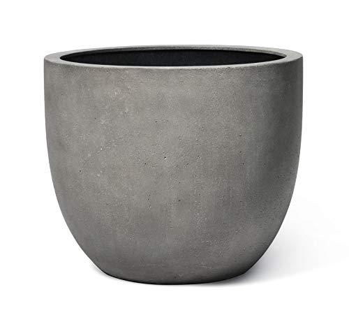 VAPLANTO® Pflanzkübel Egg Pot 50 Beton Grau Rund * 45 x 45 x 38 cm * Manufaktur Qualität * 10 Jahre Garantie