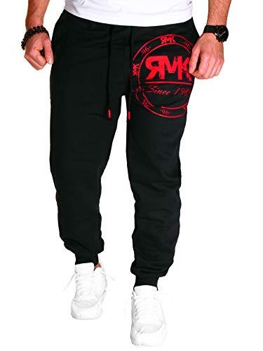 RMK Herren Hose Jogginghose Trainingshose Sporthose Fitnesshose Sweatpants Uni Einfarbig H.08 (XL, Schwarz-Rot)