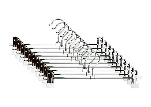 CORTEC 10er Set Klammernbügel/Rockbügel aus Metall mit Rutschfester Gummierung in Weiß