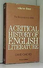 A Critical History of English Literature: v. 3