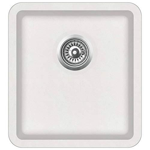vidaXL Granitspüle Einzelbecken Küchenspüle Spülbecken Spüle Einbauspüle Küche Waschbecken Küchenbecken Auflagespüle Weiß Granit 420x460x310mm