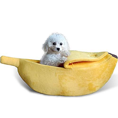 mi ji Plátano Linda Forma de Gato Habitación con Cama casa del Animal doméstico Suave Abrazo del Gato Cama Preciosa Alimentos para Mascotas de los Gatos Gatitos Cama, Amarillo para Mascotas