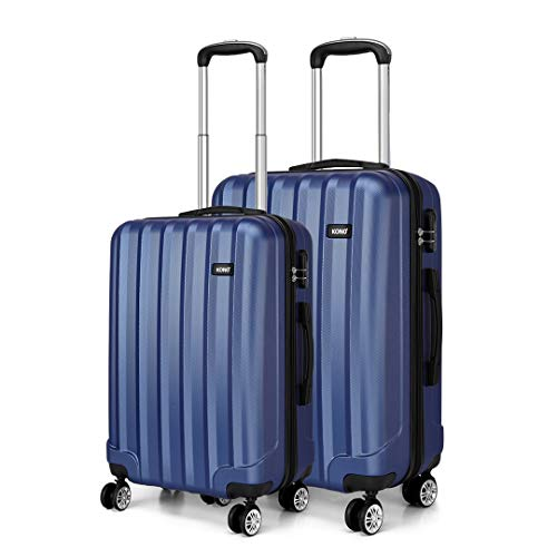 Kono 2 Piece Lightweight Travel Luggage Set ABS Hard Shell Carry on Luggage & Medium Checked Suitcase (Navy)