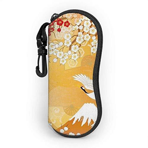 Hdaw Estuche blando para gafas de sol,Beautiful Japanese Kimono, Oriental Estuche para gafas de neopreno ligero con cremallera y clip para cinturón