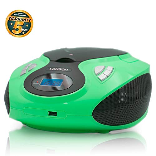 Boombox Stereo | Portable Radio CD Player with USB | USB und MP3 Player | Headphone Jack (3.5mm) | CP733 (Green)