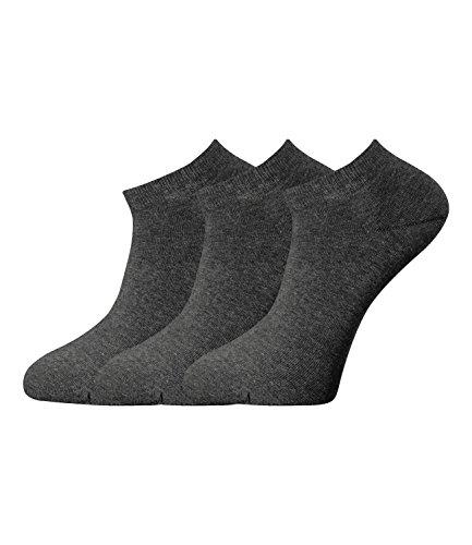 JOOP! Damen Sneaker Kurzsocken Füßlinge 760001 3 Paar, Farbe:Grau;Strumpf-/Sockengröße:35-38;Artikel:-2100 anthra mel.