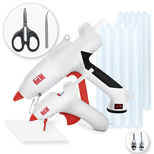 57-Piece Hot Glue Gun Kit, KeLDE UL Certified 100 Watts Large Full Size Glue Gun, Changeable Nozzle and Power Switch, Bonus 10 Watts Mini Glue Gun, Includes 2 pcs Extra Fine Tips, 50 pcs Glue Sticks